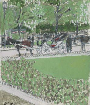 Calèches au parc – gouache – 31,5x27 cm