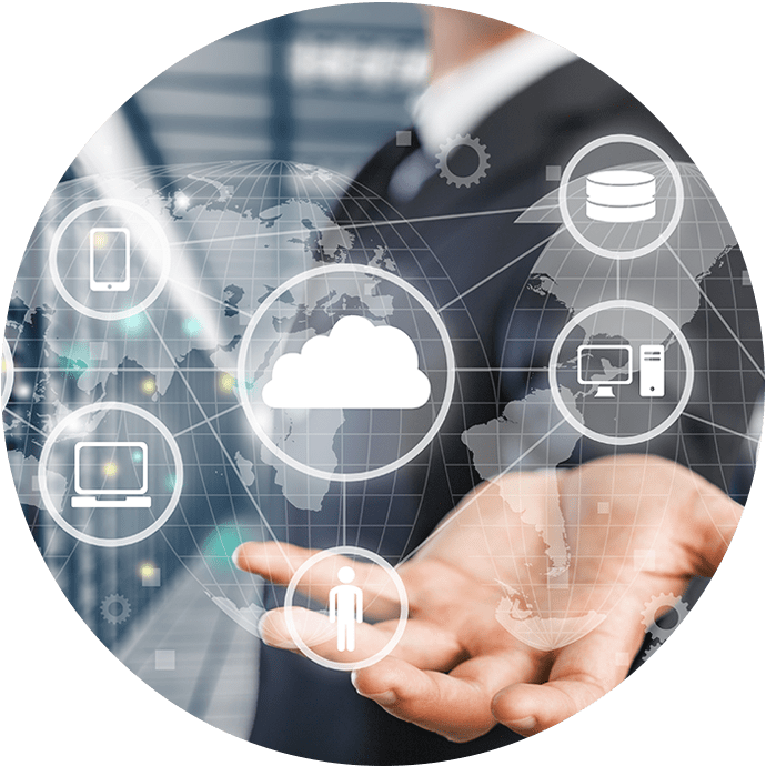 Business person holding cloud IT solutions