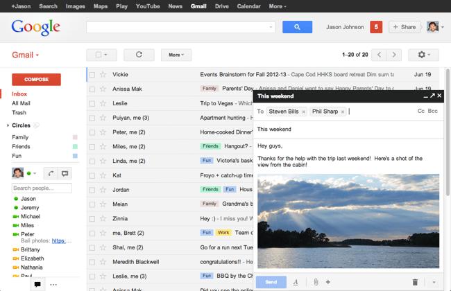 В Gmail изменился дизайн окна составления писем