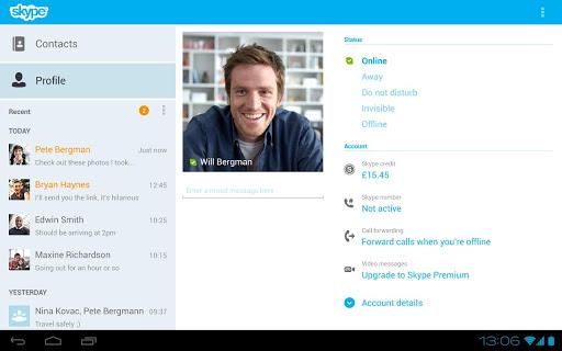 Клиент Skype для Android обзавелся новым планшетным интерфейсом
