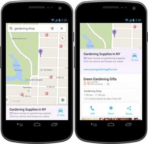 Google внедрила рекламу в мобильное приложение Maps