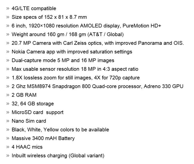 Технические характеристики Nokia Lumia 1520