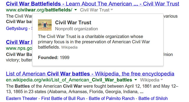 Google выводит дополнительные сведения о сайтах в поисковой выдаче