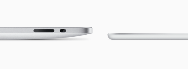 Толщина iPad Air 2 по сравнению с первым iPad