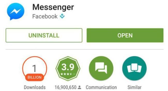 Приложение Facebook Messenger для Android достигло показателя 1 млрд загрузок