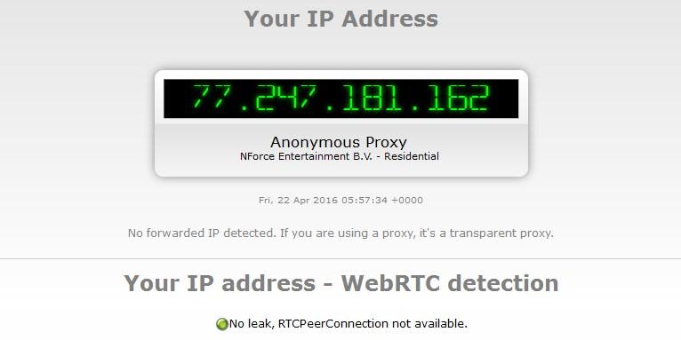При заблокированном WebRTC сайт не может определить реальный IP адрес пользователя