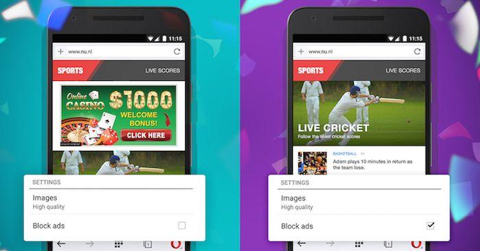 В настольной и мобильной версиях браузера Opera появился встроенный блокировщик рекламы