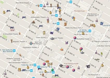 Читерам в помощь: Создана карта, показывающая точное расположение покемонов и точек интереса из игры Pokémon Go