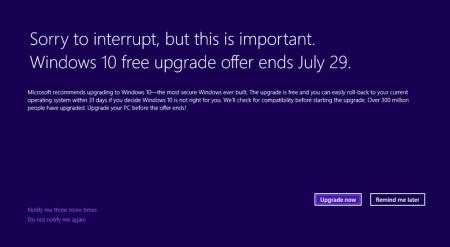 Microsoft воспользуется полноэкранными сообщениями, чтобы в последний раз напомнить о возможности обновиться до Windows 10