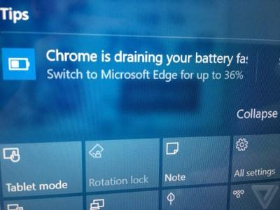 Microsoft продолжает кампанию против Chrome, теперь ОС Windows 10 советует пользователям перейти с браузера Google на Edge