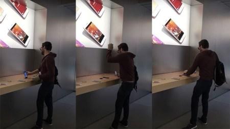 Недовольный покупатель неистово крушит «айфоны» и другую технику во французском магазине Apple [видео]