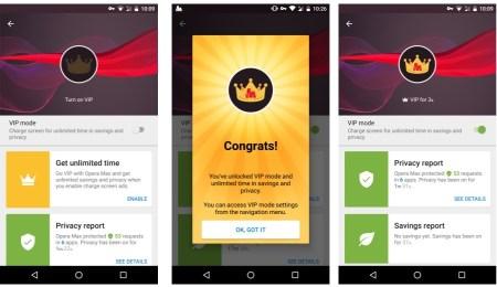 В Opera Max добавили безлимитный VIP-режим, который будет показывать рекламные баннеры во время заряда батареи смартфона
