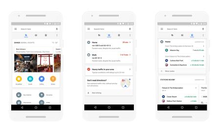 Google Maps на Android получили обновленный дизайн с быстрым доступом к наиболее важной информации (места, пробки, общественный транспорт)