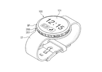 Samsung запатентовала экран-полоску, встроенную в боковую поверхность безеля умных часов