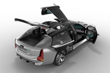 Qoros и Koenigsegg представили концепт электрического фастбэка K-EV с ассиметричными дверями трех разных типов