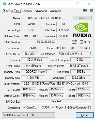 Обзор видеокарты ASUS ROG STRIX GTX 1080 Ti OC GAMING