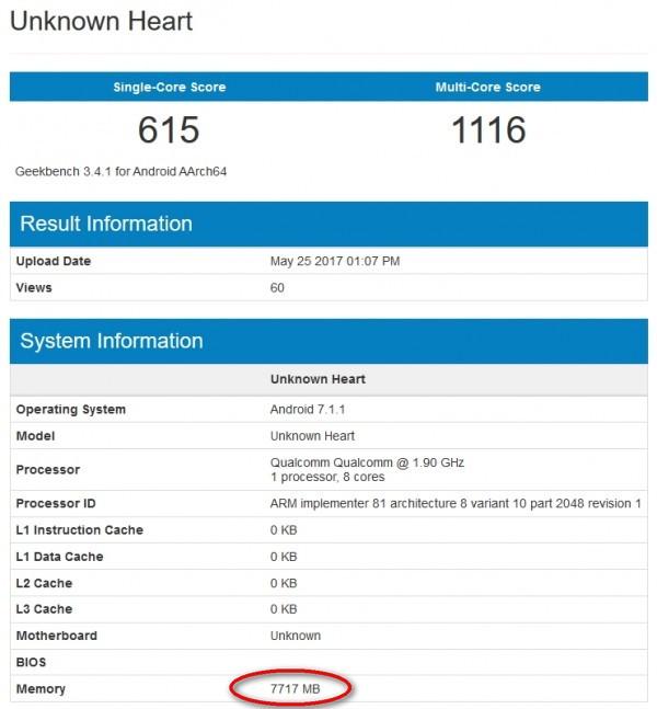 Смартфон Nokia 9 с 8 ГБ ОЗУ обнаружили в базе данных GeekBench