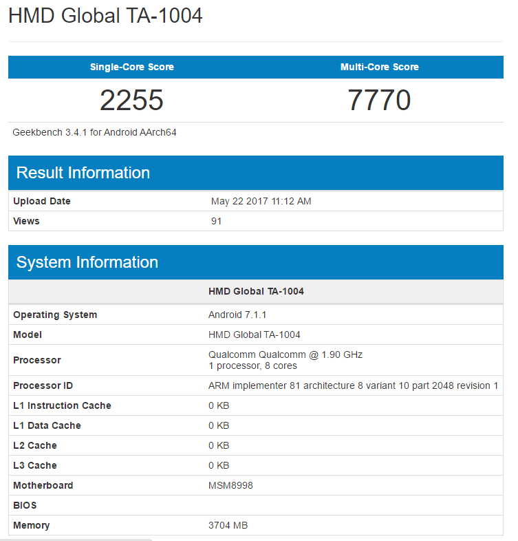 Смартфон Nokia 9 установил новый рекорд в Geekbench, набрав 7770 баллов