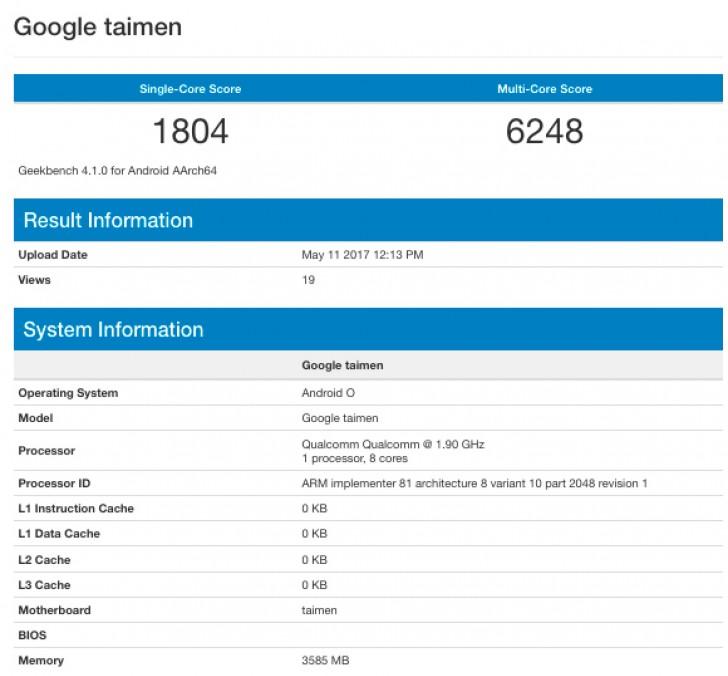 Новый Google Pixel (Taimen) с Android O замечен в базе данных GeekBench