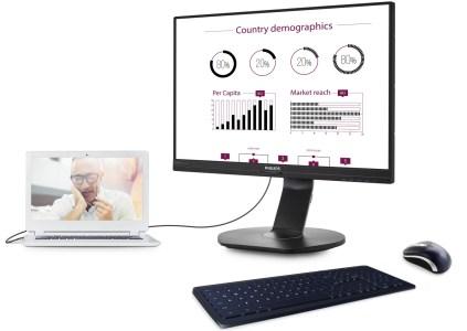 В Украине стартовали продажи монитора Philips 241B7QUPEB со встроенной док-станцией USB для источников изображения и периферии