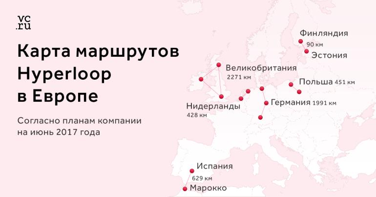 Hyperloop One выбрала девять потенциальных маршрутов для «вакуумных поездов» Hyperloop в Европе