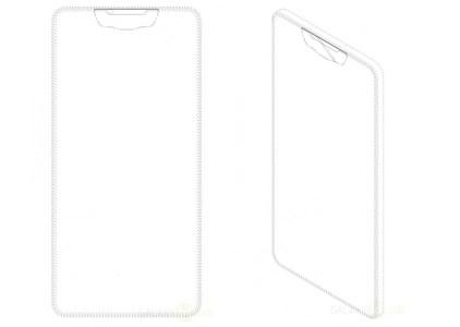 Samsung запатентовала дизайн смартфона, оснащенного безрамочным дисплеем с вырезом в верхней части