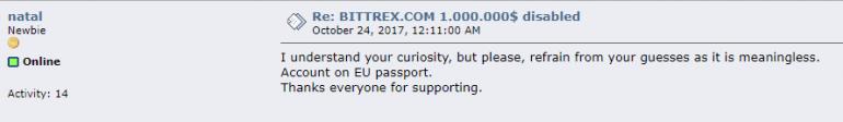 Украинец (вероятно из Крыма) пожаловался на блокировку $1 млн на криптобирже Bittrex