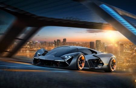Lamborghini Terzo Millennio — концепт электрического суперкара «третьего тысячелетия» с двигателями в колесах, суперконденсаторами, самозаживляющимся корпусом и виртуальным кокпитом
