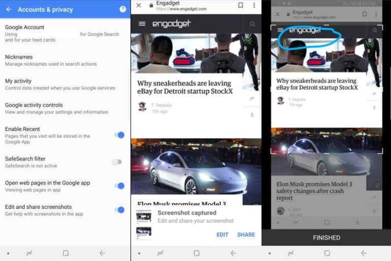 В приложении Google появилась возможность отредактировать и переслать сделанный скриншот
