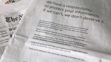Цукерберг купил полностраничную рекламу во влиятельнейших британских и американских газетах, чтобы извиниться за утечку данных пользователей Facebook. Одно из изданий ответило карикатурой