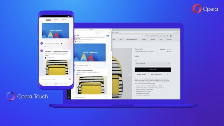 """Opera представила новый мобильный браузер Opera Touch с """"одноруким"""" интерфейсом и функцией защищенной синхронизации Flow"""