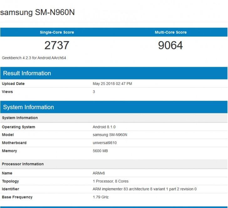 Смартфон Samsung Galaxy Note9 с чипом Exynos 9810 демонстрирует более высокую производительность, чем с Qualcomm Snapdragon 845