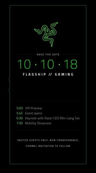 Razer назначил дату анонса геймерского смартфона Razer Phone 2 на 10 октября 2018 года