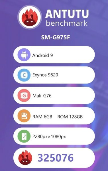 Смартфон Samsung Galaxy S10 Plus на базе SoC Exynos 9820 засветился в тесте AnTuTu