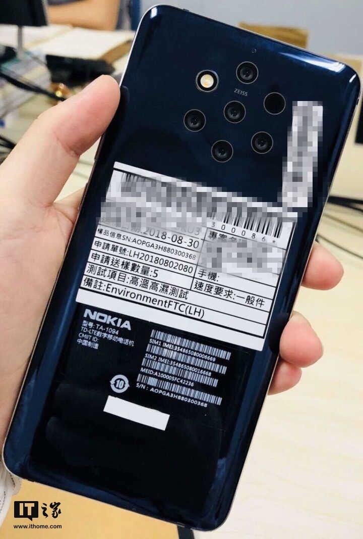 Появилось свидетельство скорого выхода смартфона Nokia 9 PureView, оснащенного камерой с пятью объективами