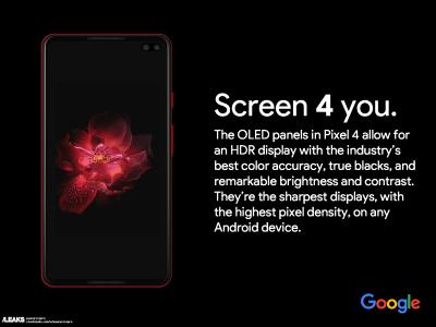 Опубликовано первое (предполагаемое) рекламное изображение Google Pixel 4 XL с врезанной в экран сдвоенной фронтальной камерой