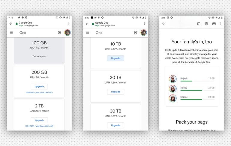 Google запустила в Украине новые тарифы Google One на облачное хранилище Google Drive (от 45 грн/мес за 100 ГБ)