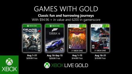 В августе подписчики Xbox Live Gold смогут бесплатно загрузить игры Gears of War 4, Forza Motorsport 6, Torchlight и Castlevania: Lords of Shadow