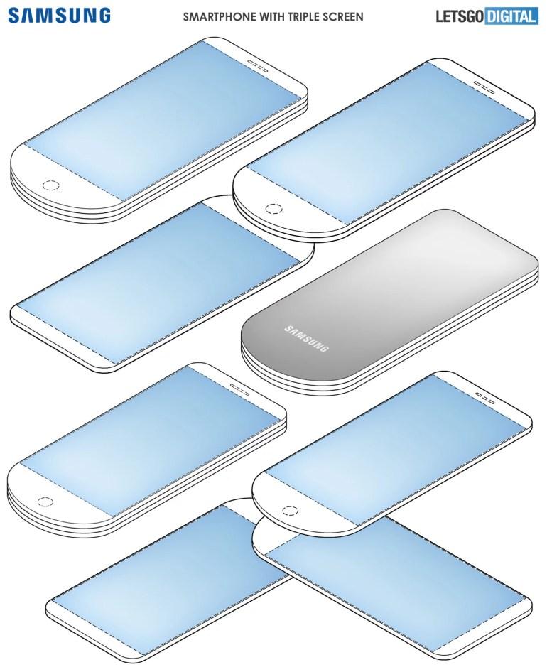 Samsung запатентовала уникальный дизайн смартфона с трёмя дисплеями, расположенными стопкой друг над другом