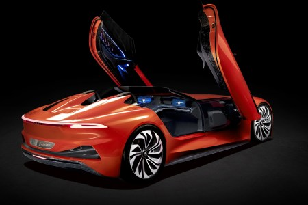 Karma Automotive presents the stylish Karma SC1 Vision Concept electric convertible with large scissor doors