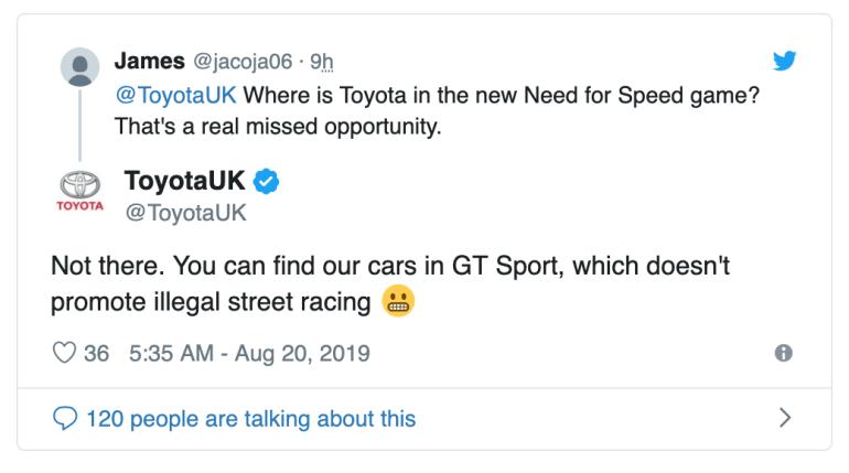"""Toyota заявила, что ее автомобилей нет в Need for Speed Heat потому что игра популяризирует нелегальные уличные гонки (NFS ответил """"Пфф, ботаны"""")"""