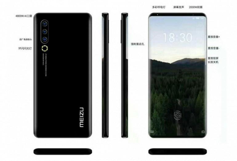 Meizu 17 показался на рендерах в обновленном дизайне c «экраном-водопадом»