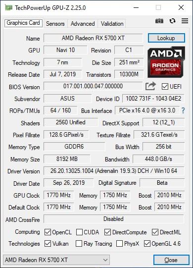 Обзор видеокарты ASUS ROG-STRIX-RX5700XT-O8G-GAMING