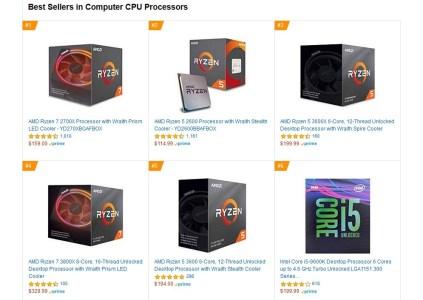 Процессоры AMD доминируют в розничной продаже через Amazon в США, Великобритании и Германии
