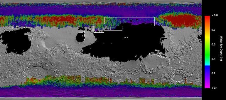 NASA создало карту залежей марсианского льда, которая должна определить места высадки людей