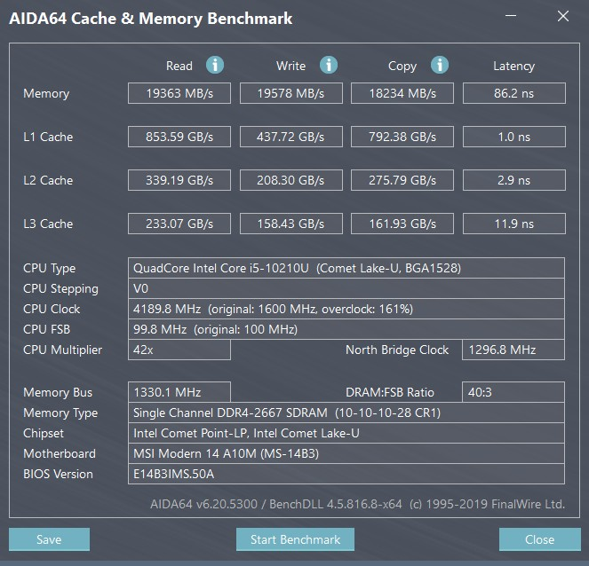 MSI Modern 14 AIDA64 cache/memory benchmark