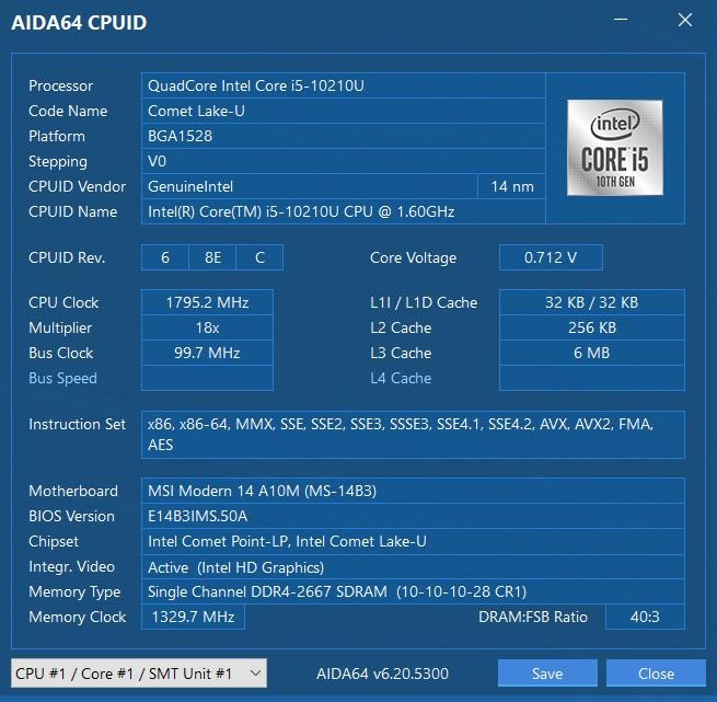 Обзор ноутбука MSI Modern 14: ультрапорт на Intel Comet Lake-U