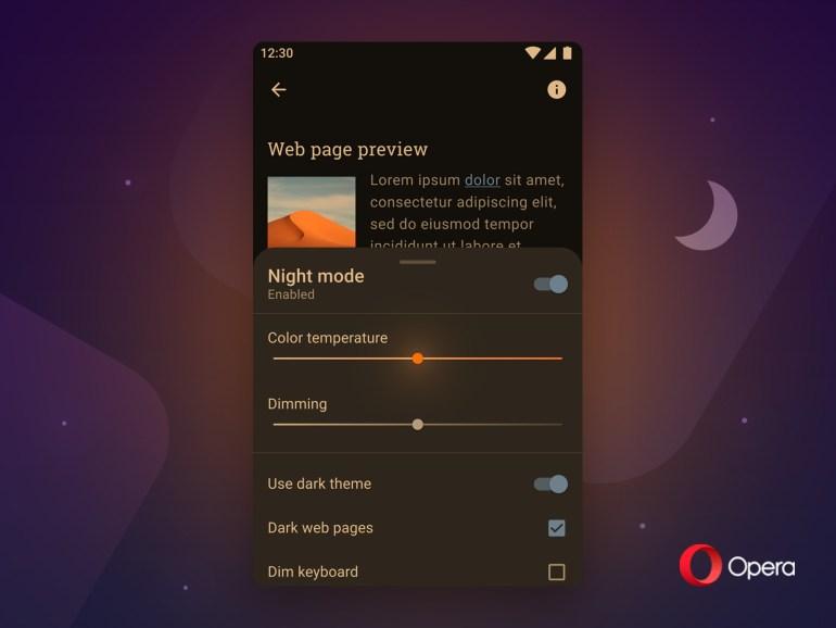 """Новая Opera для Android получила """"принудительный"""" ночной режим с уменьшенной яркостью и регулировку цветовой температуры"""