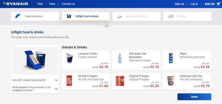 Лоукостер Ryanair переименовал тарифы и изменил их структуру, а также ввел предзаказ питания
