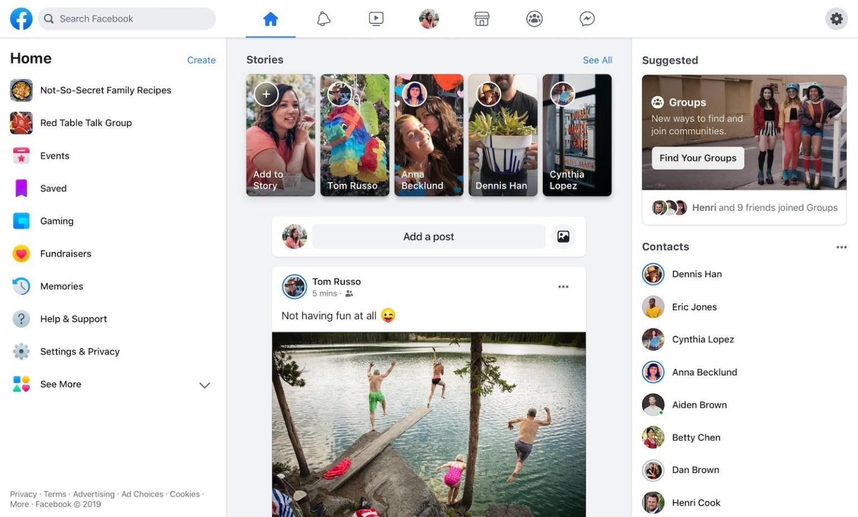 Facebook начинает внедрять новый дизайн 01